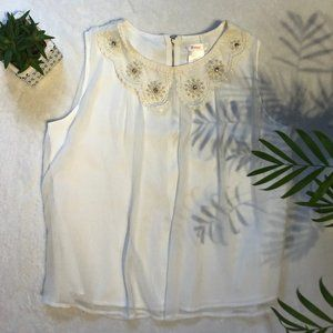 White Chiffon Babydoll Tank with Lace & Beading